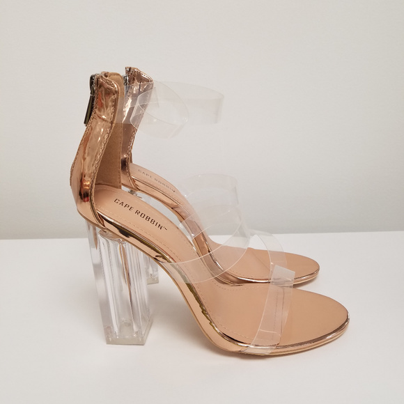 Women s Rose Gold Clear Strap Chunky Clear Heels